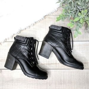 MIA Black Quilted Heeled Combat Boots
